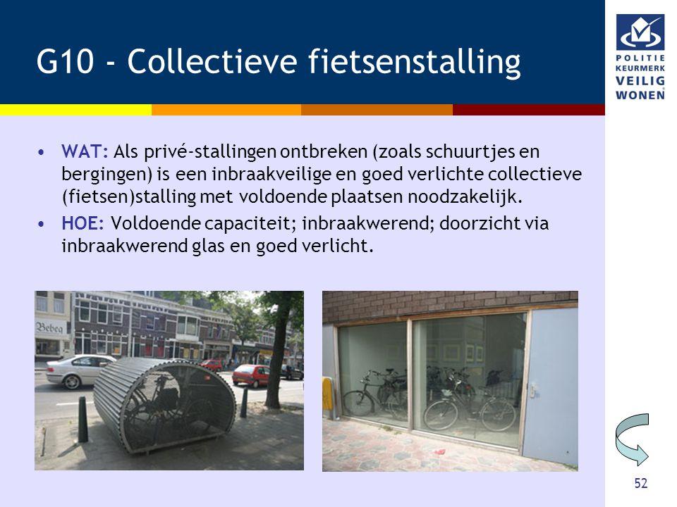 52 G10 - Collectieve fietsenstalling •WAT: Als privé-stallingen ontbreken (zoals schuurtjes en bergingen) is een inbraakveilige en goed verlichte coll