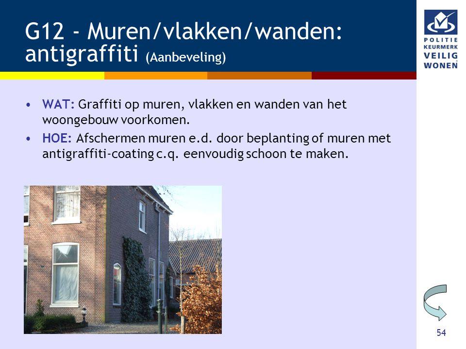 54 G12 - Muren/vlakken/wanden: antigraffiti (Aanbeveling) •WAT: Graffiti op muren, vlakken en wanden van het woongebouw voorkomen. •HOE: Afschermen mu