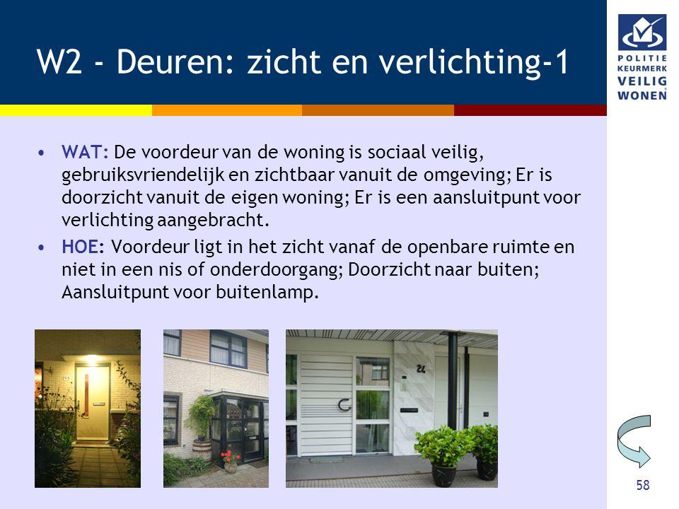 58 W2 - Deuren: zicht en verlichting-1 •WAT: De voordeur van de woning is sociaal veilig, gebruiksvriendelijk en zichtbaar vanuit de omgeving; Er is d