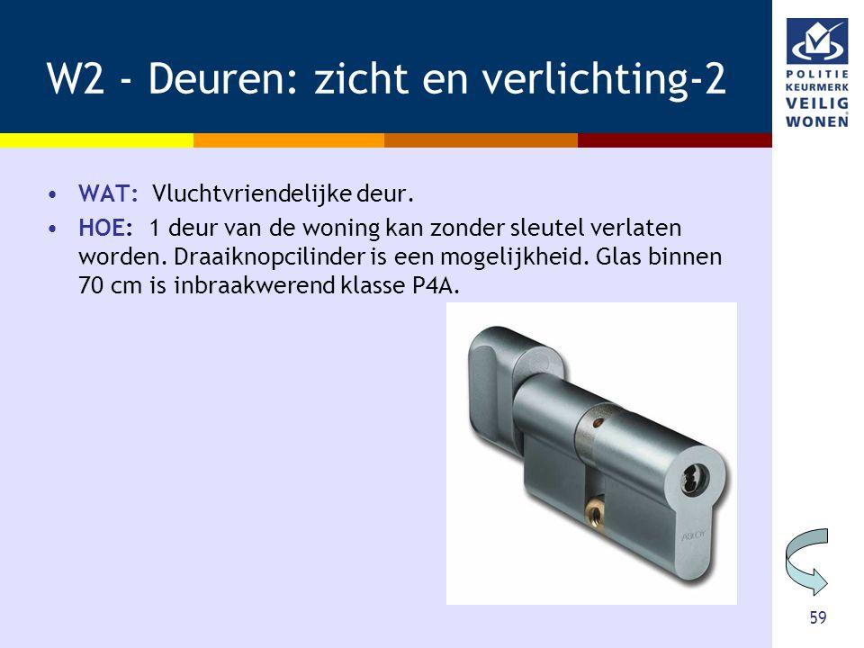 59 W2 - Deuren: zicht en verlichting-2 •WAT: Vluchtvriendelijke deur. •HOE: 1 deur van de woning kan zonder sleutel verlaten worden. Draaiknopcilinder