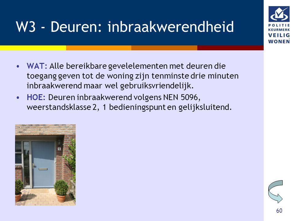 60 W3 - Deuren: inbraakwerendheid •WAT: Alle bereikbare gevelelementen met deuren die toegang geven tot de woning zijn tenminste drie minuten inbraakw