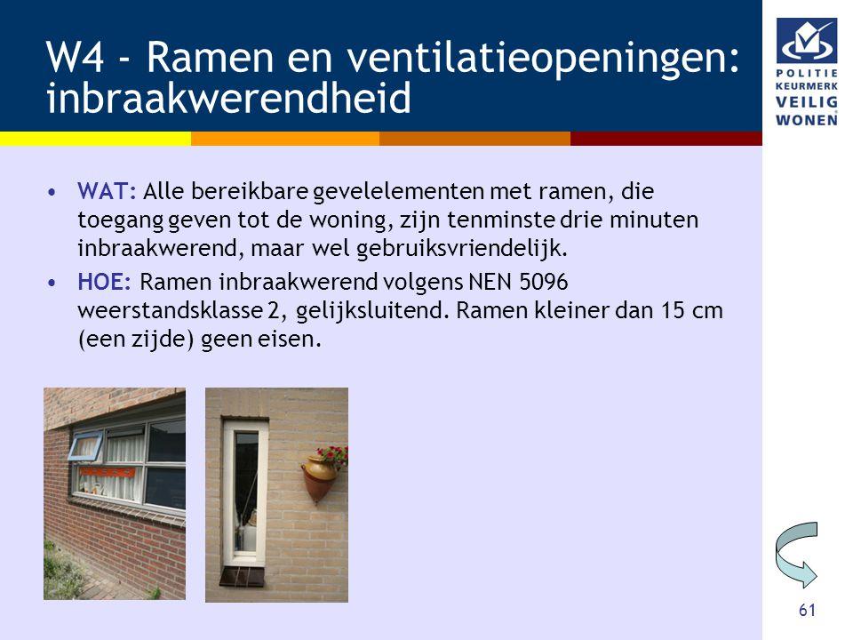 61 W4 - Ramen en ventilatieopeningen: inbraakwerendheid •WAT: Alle bereikbare gevelelementen met ramen, die toegang geven tot de woning, zijn tenminst
