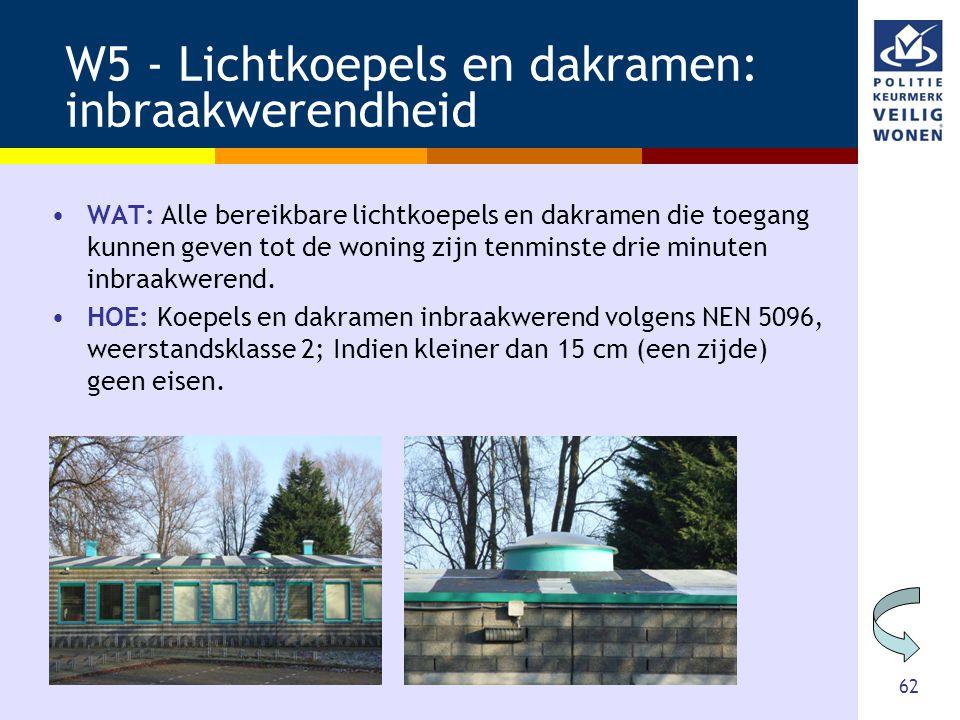 62 W5 - Lichtkoepels en dakramen: inbraakwerendheid •WAT: Alle bereikbare lichtkoepels en dakramen die toegang kunnen geven tot de woning zijn tenmins