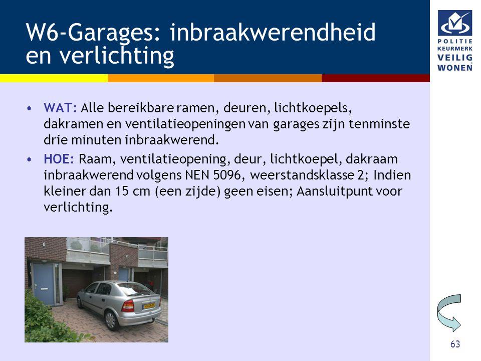 63 W6-Garages: inbraakwerendheid en verlichting •WAT: Alle bereikbare ramen, deuren, lichtkoepels, dakramen en ventilatieopeningen van garages zijn te