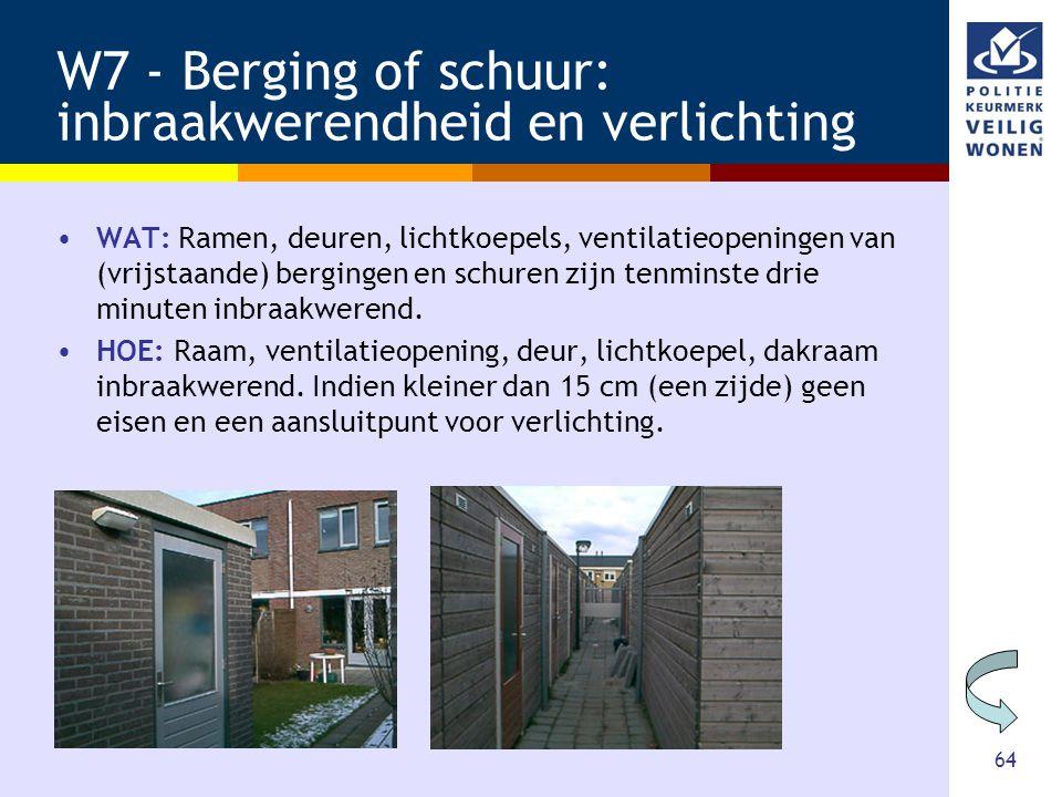 64 W7 - Berging of schuur: inbraakwerendheid en verlichting •WAT: Ramen, deuren, lichtkoepels, ventilatieopeningen van (vrijstaande) bergingen en schu