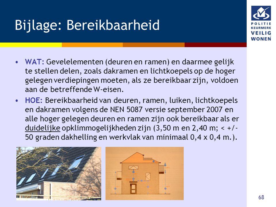 68 Bijlage: Bereikbaarheid •WAT: Gevelelementen (deuren en ramen) en daarmee gelijk te stellen delen, zoals dakramen en lichtkoepels op de hoger geleg
