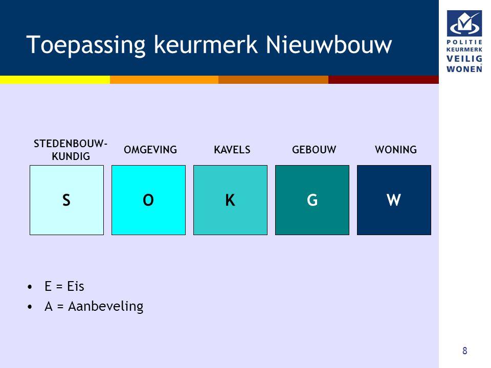8 Toepassing keurmerk Nieuwbouw •E = Eis •A = Aanbeveling SOKGW STEDENBOUW- KUNDIG OMGEVINGKAVELSGEBOUWWONING