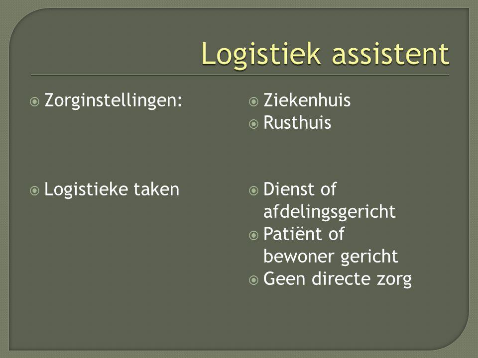  Zorginstellingen:  Logistieke taken  Ziekenhuis  Rusthuis  Dienst of afdelingsgericht  Patiënt of bewoner gericht  Geen directe zorg