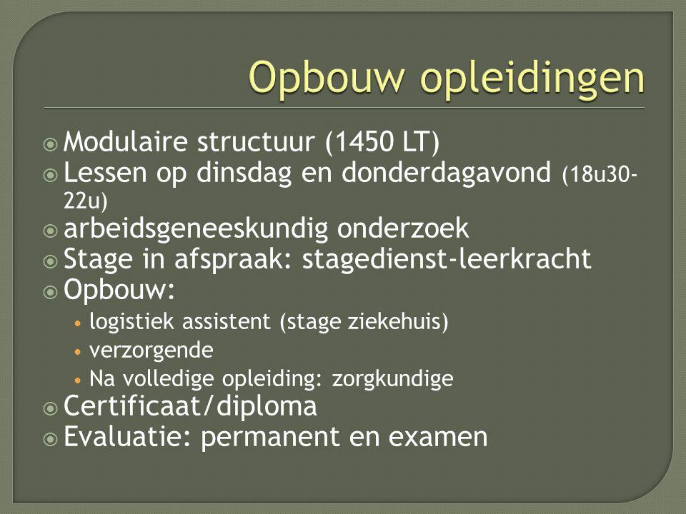 Modulaire structuur (1450 LT)  Lessen op dinsdag en donderdagavond (18u30- 22u)  arbeidsgeneeskundig onderzoek  Stage in afspraak: stagedienst-le