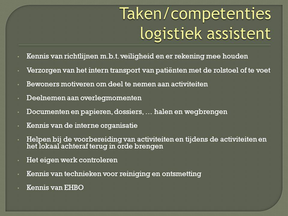  Communicatief gedrag  Basis logistieke vaardigheden in de zorgsector  Logistieke vaardigheden in de zorgsector  EHBO  Hef-en tiltechnieken  Onderhoud in de zorgsector  Werken in de zorgsector  40 LT  20 LT  40 LT