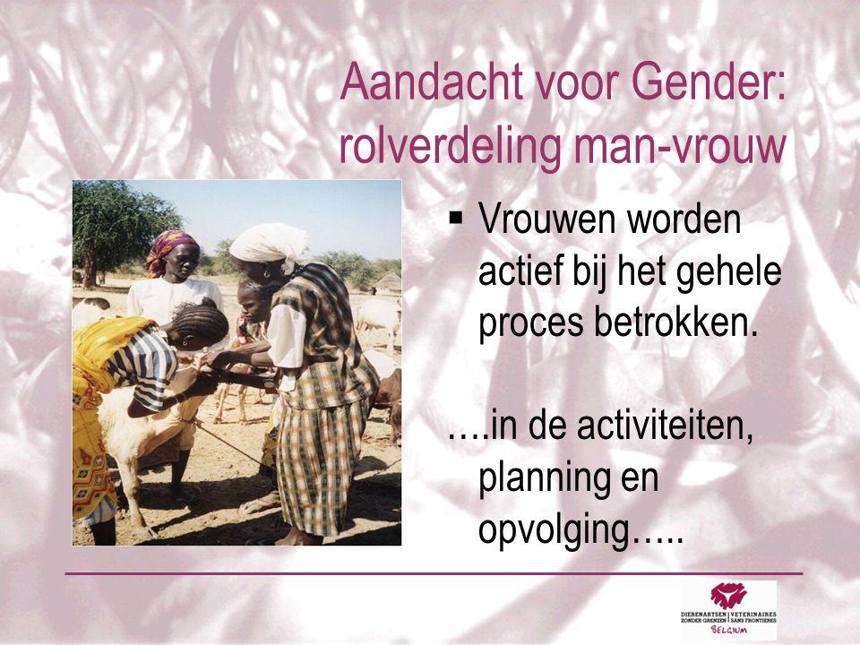 Aandacht voor Gender: rolverdeling man-vrouw  Vrouwen worden actief bij het gehele proces betrokken.