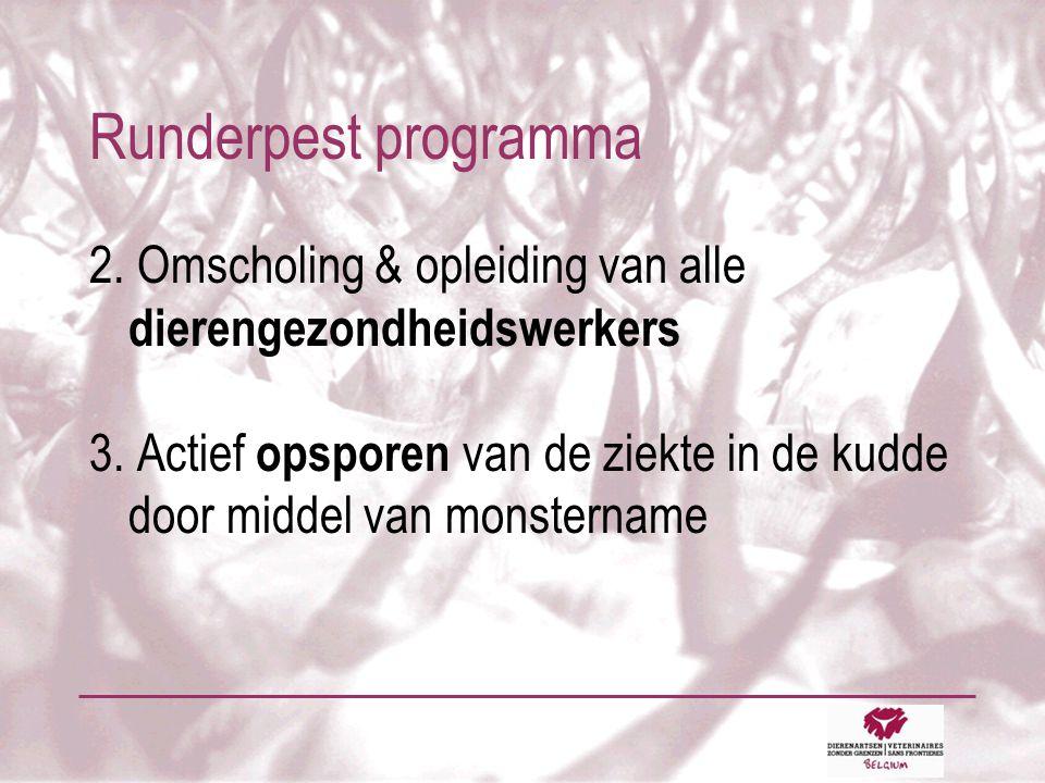 Runderpest programma 2. Omscholing & opleiding van alle dierengezondheidswerkers 3.