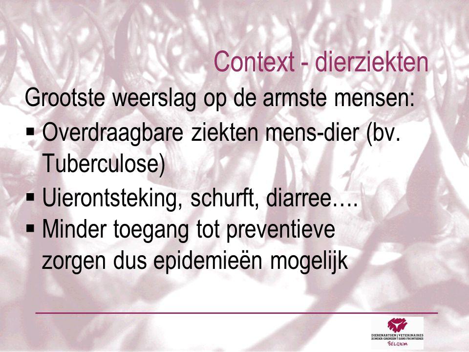 Context - dierziekten Grootste weerslag op de armste mensen:  Overdraagbare ziekten mens-dier (bv.