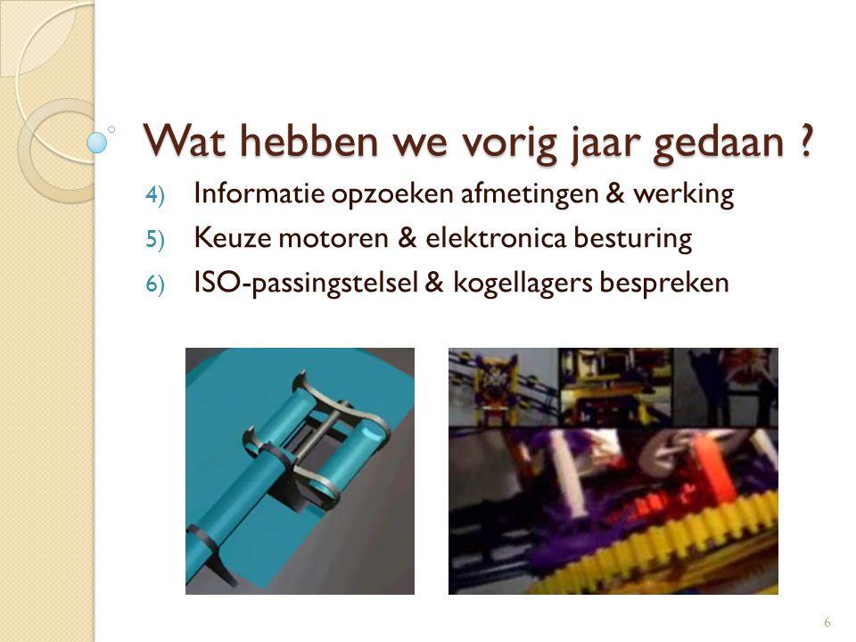 Wat hebben we vorig jaar gedaan ? 4) Informatie opzoeken afmetingen & werking 5) Keuze motoren & elektronica besturing 6) ISO-passingstelsel & kogella
