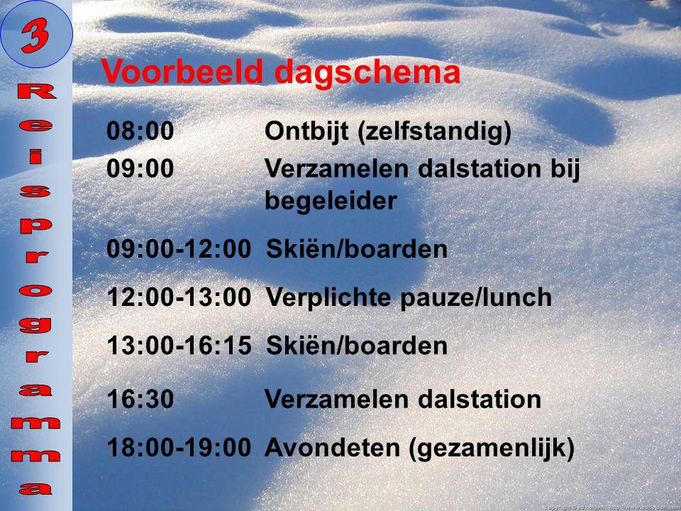 09:00 Verzamelen dalstation bij begeleider Voorbeeld dagschema 12:00-13:00 Verplichte pauze/lunch 08:00 Ontbijt (zelfstandig) 09:00-12:00 Skiën/boarde