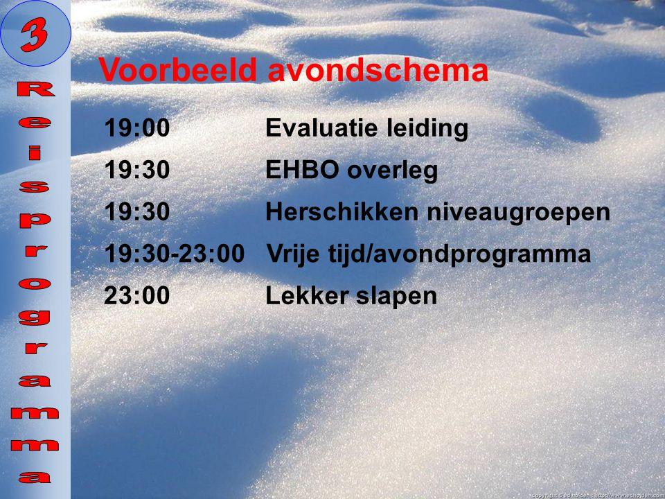 19:30 Herschikken niveaugroepen Voorbeeld avondschema 23:00 Lekker slapen 19:00 Evaluatie leiding 19:30-23:00 Vrije tijd/avondprogramma 19:30 EHBO ove