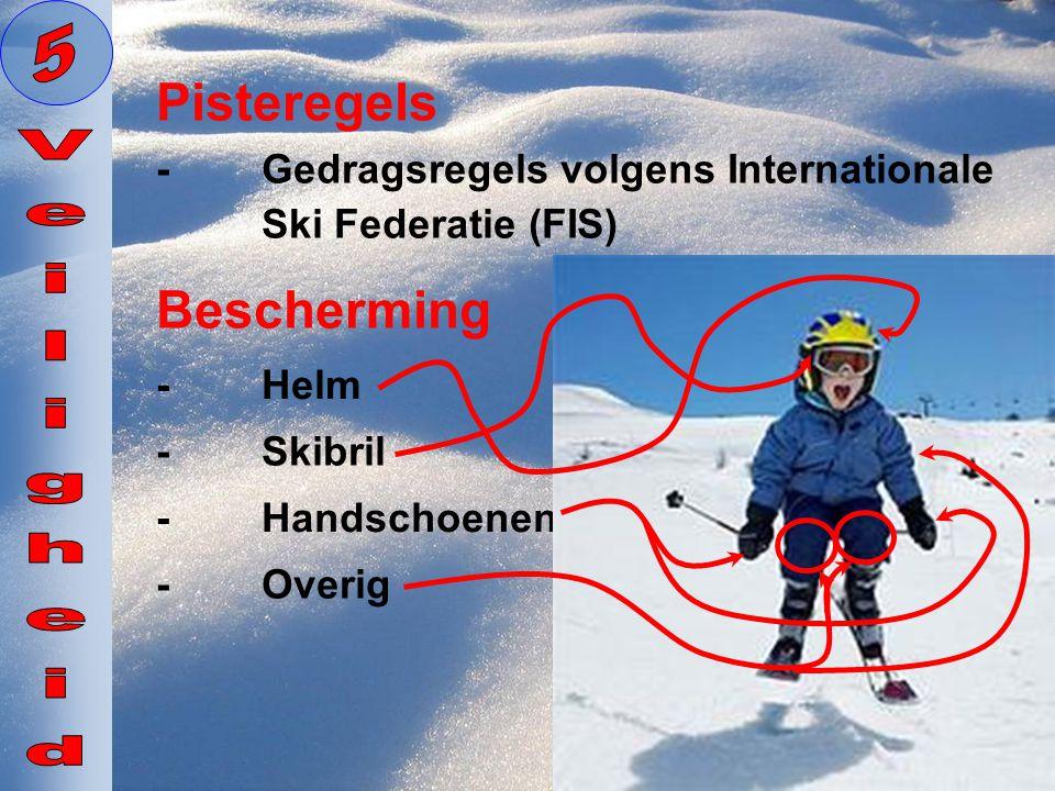 Pisteregels -Gedragsregels volgens Internationale Ski Federatie (FIS) Bescherming -Helm -Skibril -Handschoenen -Overig