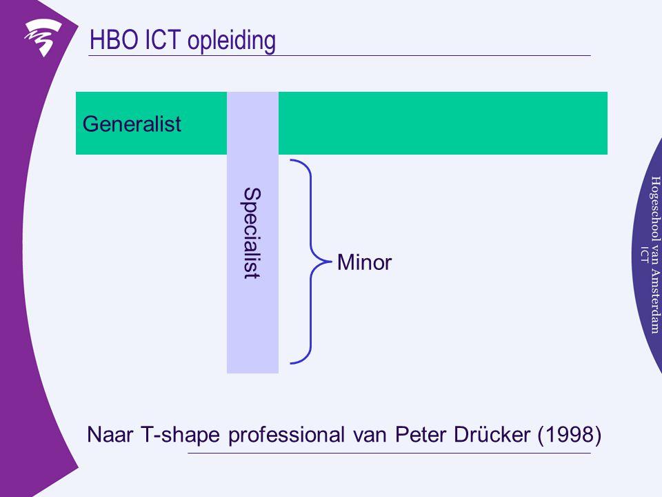 HBO ICT opleiding Naar T-shape professional van Peter Drücker (1998) Generalist Specialist Minor