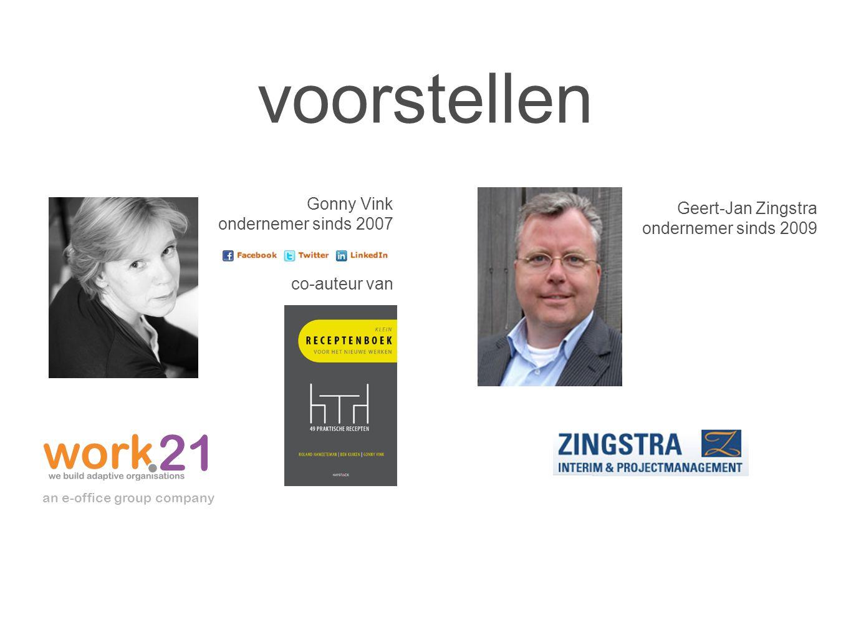 voorstellen Gonny Vink ondernemer sinds 2007 co-auteur van an e-office group company Geert-Jan Zingstra ondernemer sinds 2009