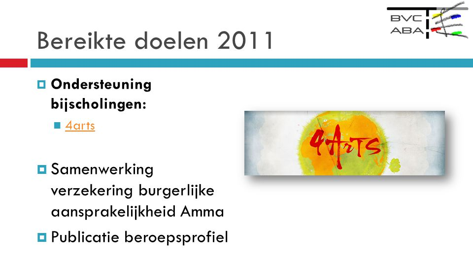 Bereikte doelen 2011  Ondersteuning bijscholingen:  4arts 4arts  Samenwerking verzekering burgerlijke aansprakelijkheid Amma  Publicatie beroepsprofiel