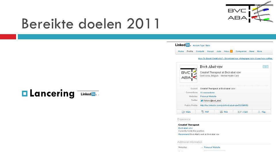 Bereikte doelen 2011  Lancering,