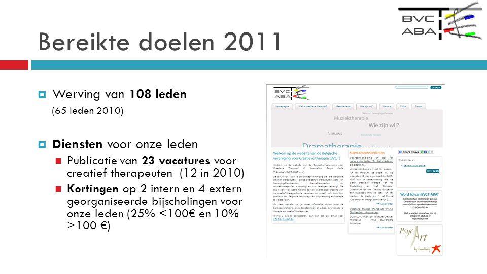 Bereikte doelen 2011  Werving van 108 leden (65 leden 2010)  Diensten voor onze leden  Publicatie van 23 vacatures voor creatief therapeuten (12 in 2010)  Kortingen op 2 intern en 4 extern georganiseerde bijscholingen voor onze leden (25% 100 €)