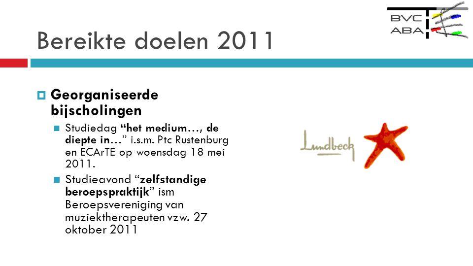 Bereikte doelen 2011  Georganiseerde bijscholingen  Studiedag het medium…, de diepte in… i.s.m.