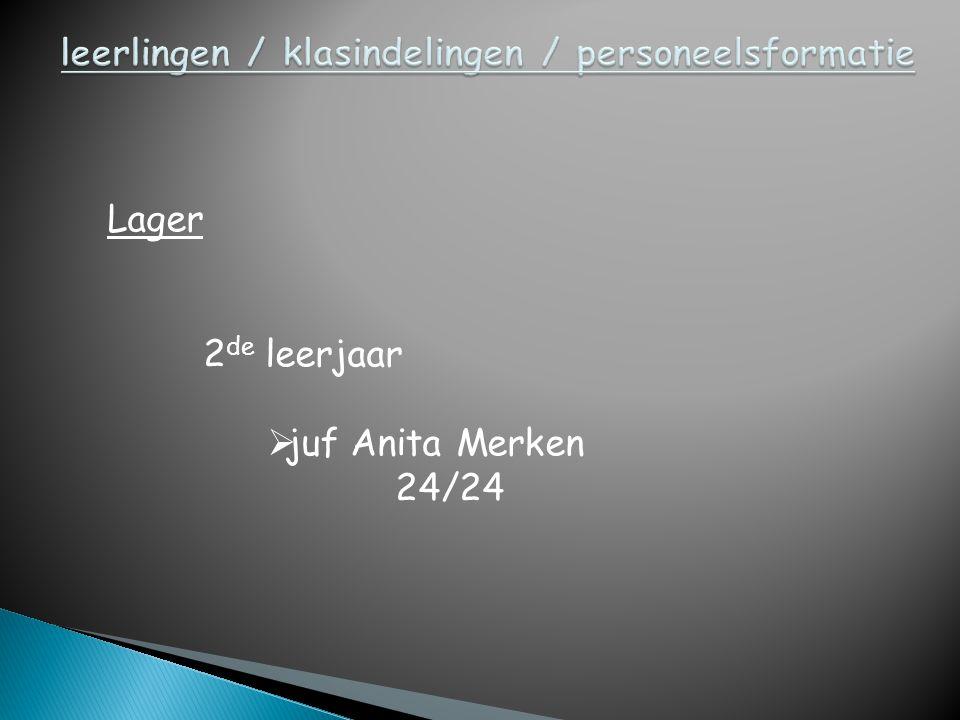 Lager 3 de leerjaar  juf Cindy Lieben 12/24  juf Elke 2/24 klasondersteuning