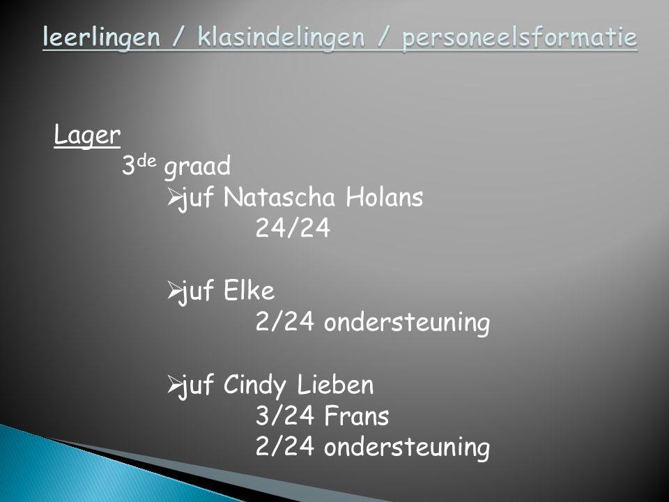 Lager 3 de graad  juf Natascha Holans 24/24  juf Elke 2/24 ondersteuning  juf Cindy Lieben 3/24 Frans 2/24 ondersteuning