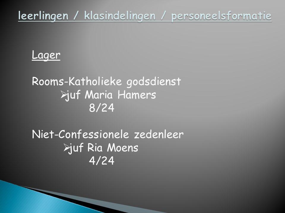Lager Rooms-Katholieke godsdienst  juf Maria Hamers 8/24 Niet-Confessionele zedenleer  juf Ria Moens 4/24