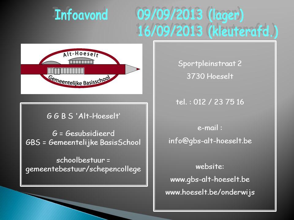 Sportpleinstraat 2 3730 Hoeselt tel. : 012 / 23 75 16 e-mail : info@gbs-alt-hoeselt.be website: www.gbs-alt-hoeselt.be www.hoeselt.be/onderwijs G G B