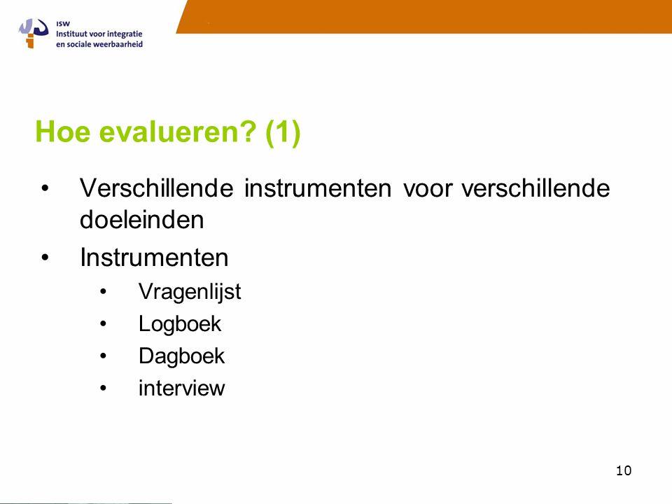 10 Hoe evalueren? (1) •Verschillende instrumenten voor verschillende doeleinden •Instrumenten •Vragenlijst •Logboek •Dagboek •interview