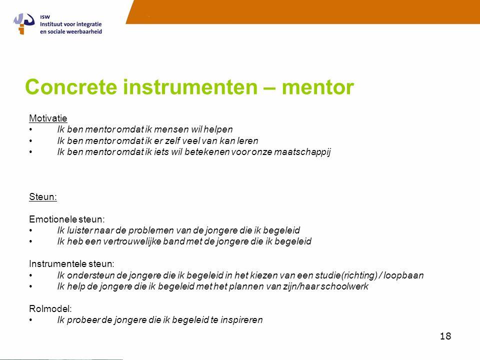 18 Concrete instrumenten – mentor Motivatie •Ik ben mentor omdat ik mensen wil helpen •Ik ben mentor omdat ik er zelf veel van kan leren •Ik ben mentor omdat ik iets wil betekenen voor onze maatschappij Steun: Emotionele steun: •Ik luister naar de problemen van de jongere die ik begeleid •Ik heb een vertrouwelijke band met de jongere die ik begeleid Instrumentele steun: •Ik ondersteun de jongere die ik begeleid in het kiezen van een studie(richting) / loopbaan •Ik help de jongere die ik begeleid met het plannen van zijn/haar schoolwerk Rolmodel: •Ik probeer de jongere die ik begeleid te inspireren