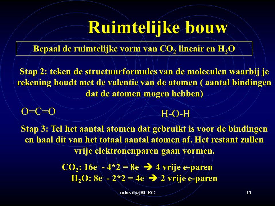 mlavd@BCEC10 Ruimtelijke bouw Waarom is CO 2 lineair en H 2 O gebogen ?? Stap 1: bepaal eerst het aantal elektronen 'in de buitenste schil' van de ato