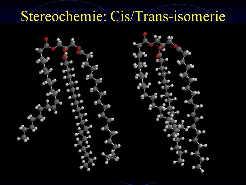 mlavd@BCEC19 Stereochemie: Cis/Trans-isomerie Van een cyclomolecuul waarbij aan 2 C-atomen TWEE verschillende groepen zitten zijn er 2 ruimtelijke vor