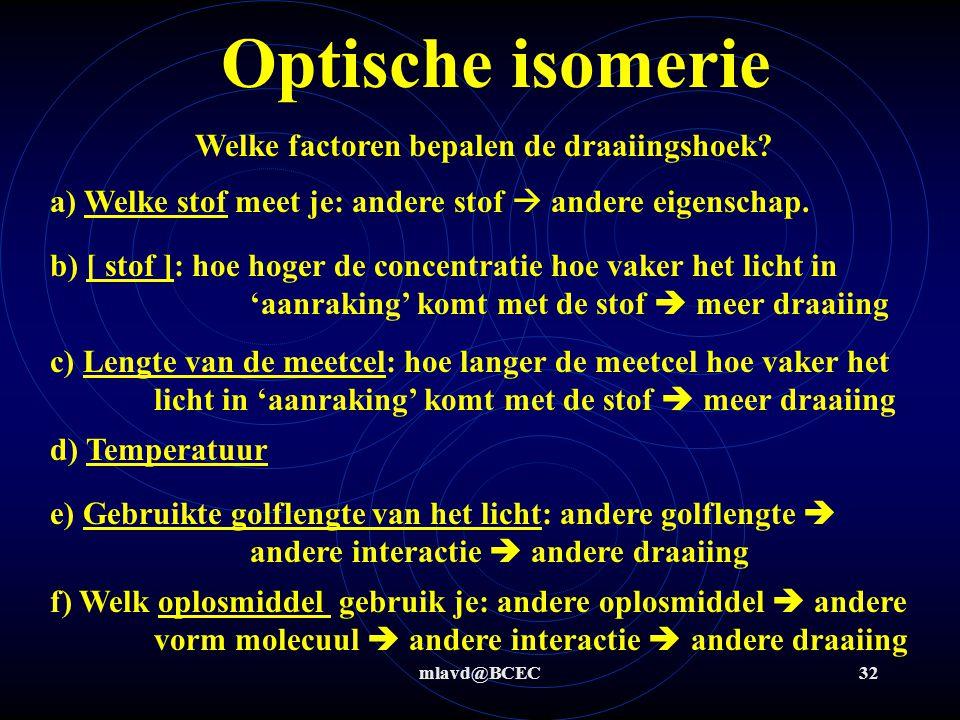 mlavd@BCEC31 Optische isomerie Spiegelbeeld-isomeren vertonen een optische activiteit; d.w.z. dat ze gepolariseerd licht kunnen draaien.optische activ