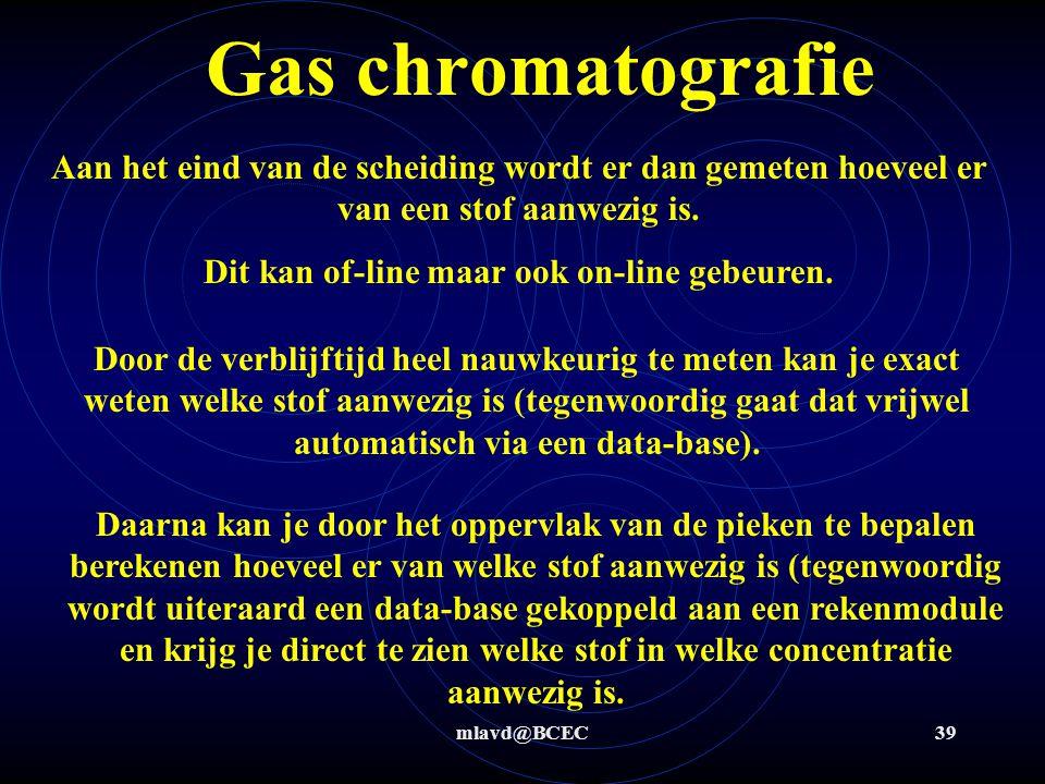 mlavd@BCEC38 Gas chromatografie Om te bepalen wat de zuiverheid is van een stof of hoeveel er van welke componenten aanwezig is kan je ook met chromat