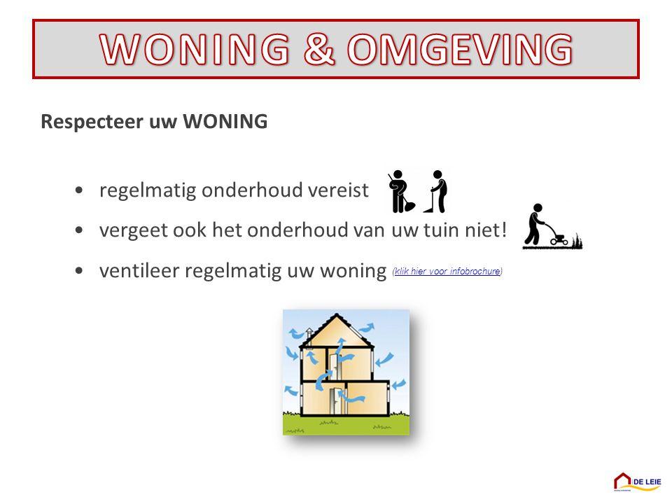 Respecteer uw WONING •regelmatig onderhoud vereist •vergeet ook het onderhoud van uw tuin niet! •ventileer regelmatig uw woning (klik hier voor infobr