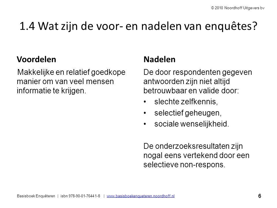 6 Basisboek Enquêteren | isbn 978-90-01-76441-8 | www.basisboekenqueteren.noordhoff.nlwww.basisboekenqueteren.noordhoff.nl © 2010 Noordhoff Uitgevers
