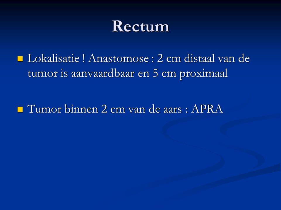 Rectum  Lokalisatie ! Anastomose : 2 cm distaal van de tumor is aanvaardbaar en 5 cm proximaal  Tumor binnen 2 cm van de aars : APRA