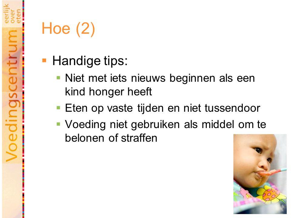 17 Hoe (2)  Handige tips:  Niet met iets nieuws beginnen als een kind honger heeft  Eten op vaste tijden en niet tussendoor  Voeding niet gebruike