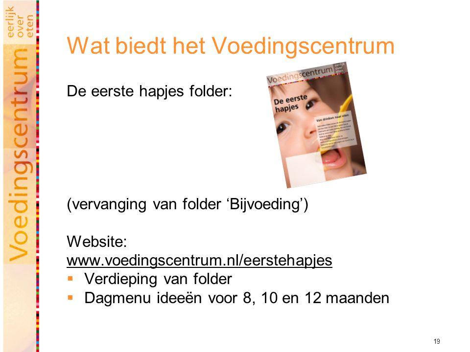 19 Wat biedt het Voedingscentrum De eerste hapjes folder: (vervanging van folder 'Bijvoeding') Website: www.voedingscentrum.nl/eerstehapjes  Verdieping van folder  Dagmenu ideeën voor 8, 10 en 12 maanden