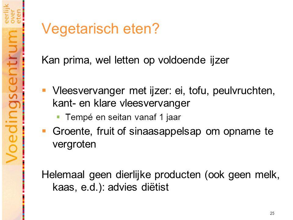25 Vegetarisch eten.