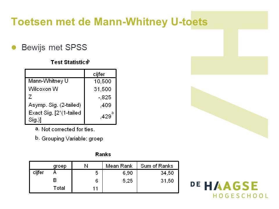 Toetsen met de Mann-Whitney U-toets  Bewijs met SPSS