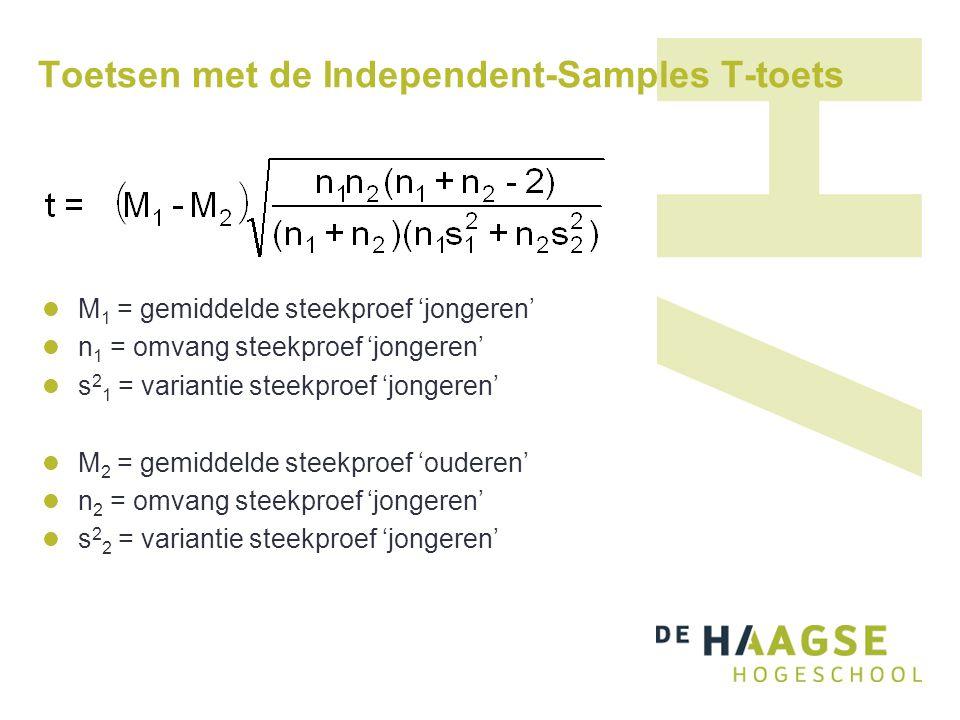 Toetsen met de Independent-Samples T-toets  M 1 = gemiddelde steekproef 'jongeren'  n 1 = omvang steekproef 'jongeren'  s 2 1 = variantie steekproe