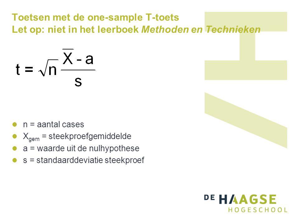 Toetsen met de one-sample T-toets Let op: niet in het leerboek Methoden en Technieken  n = aantal cases  X gem = steekproefgemiddelde  a = waarde u