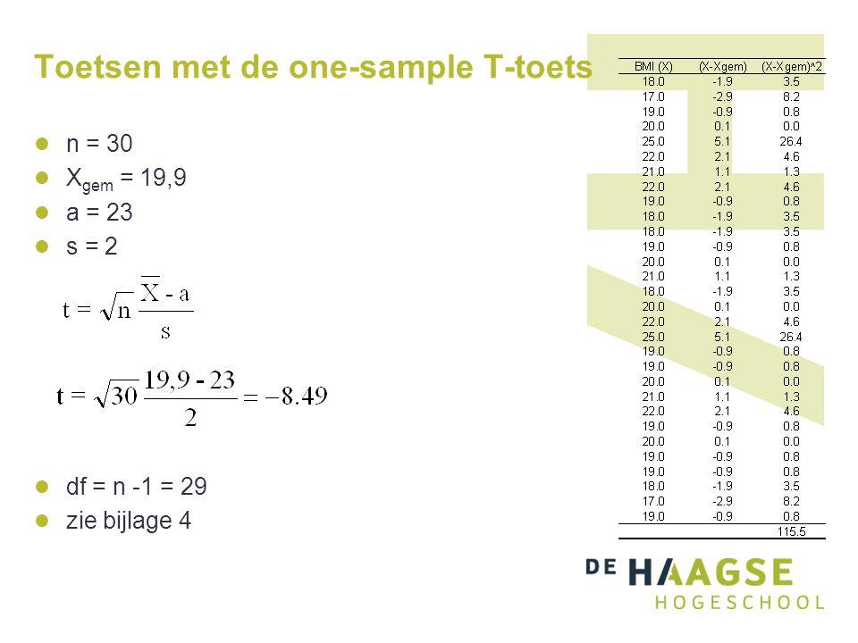 Toetsen met de one-sample T-toets  n = 30  X gem = 19,9  a = 23  s = 2  df = n -1 = 29  zie bijlage 4