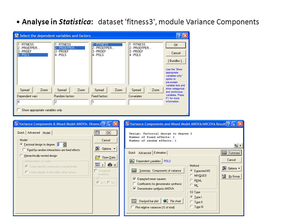 • Analyse in Statistica: dataset 'fitness3', module Variance Components