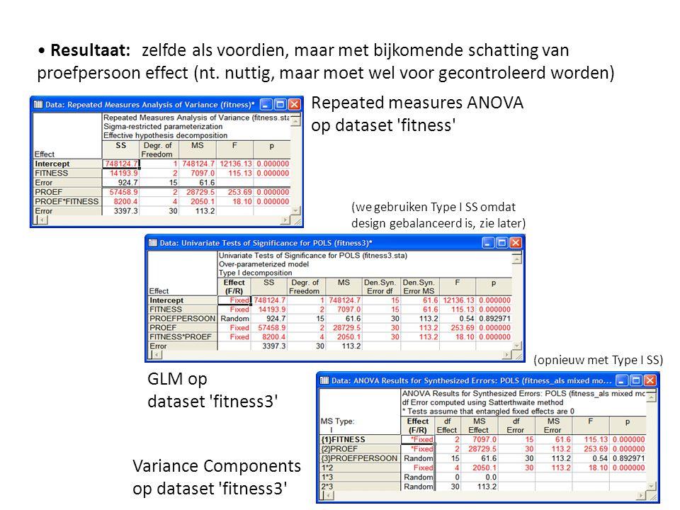 • Resultaat: zelfde als voordien, maar met bijkomende schatting van proefpersoon effect (nt. nuttig, maar moet wel voor gecontroleerd worden) Repeated