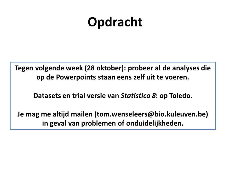 Opdracht Tegen volgende week (28 oktober): probeer al de analyses die op de Powerpoints staan eens zelf uit te voeren. Datasets en trial versie van St